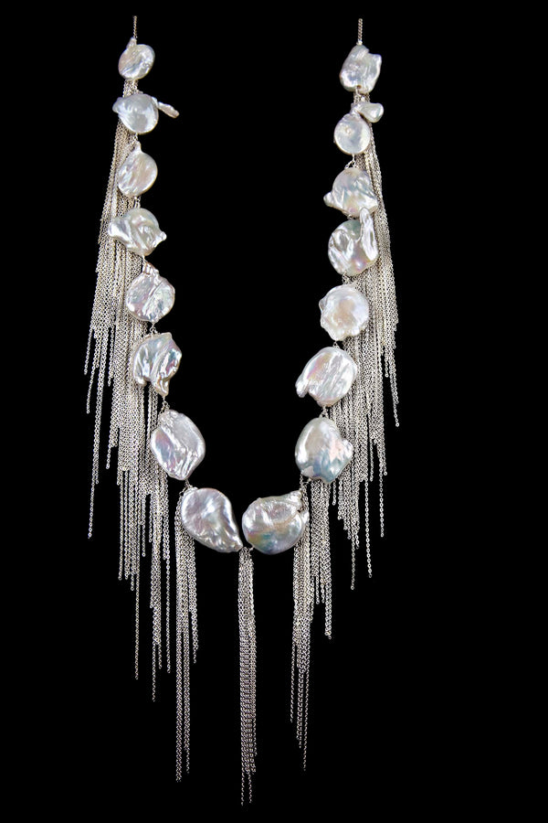 NECKLACE CASCADE WHITE BRONZE KEISHI PEARLS