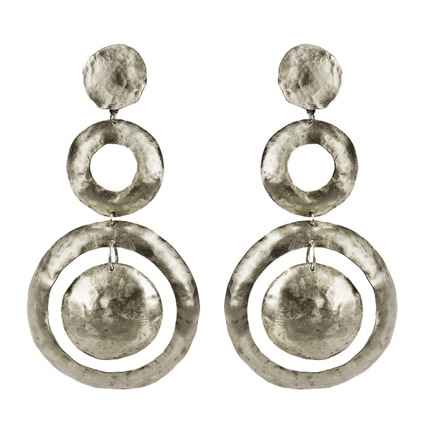 EARRINGS DONUTS WHITE BRONZE