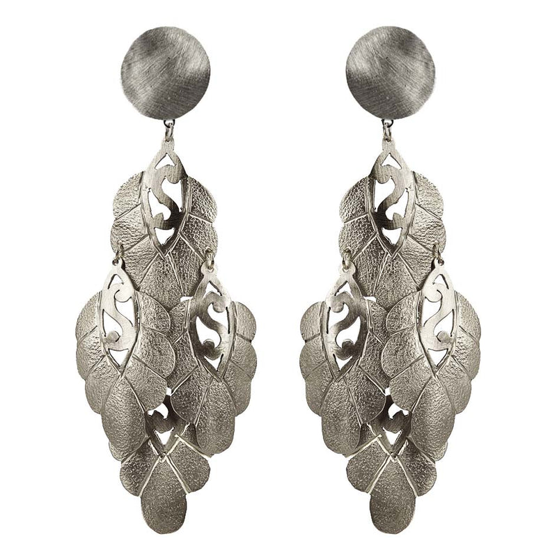 EARRINGS FLORAL WHITE BRONZE
