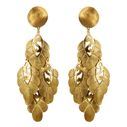 EARRINGS FLORAL GOLD BRONZE