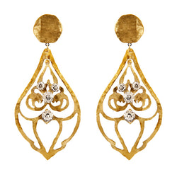 EARRINGS HEART DROPS GOLD BRONZE