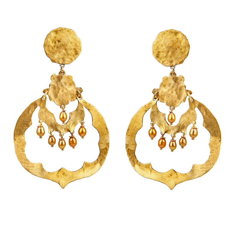 EARRINGS INDIA CITRINE GOLD BRONZE