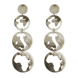 EARRINGS ITALY AFRICA WHITE BRONZE