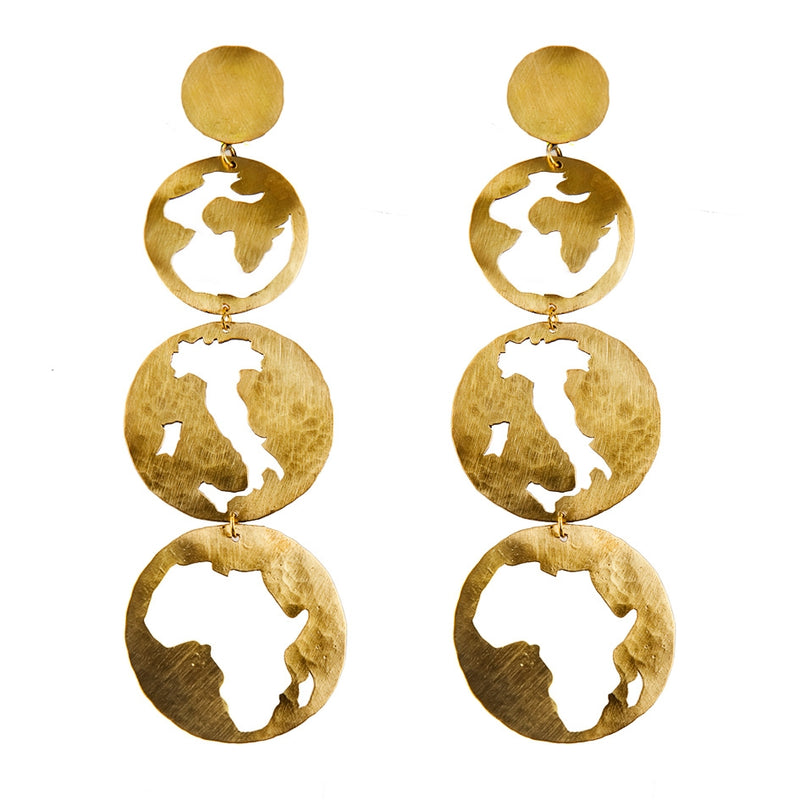 EARRINGS ITALY AFRICA GOLD BRONZE