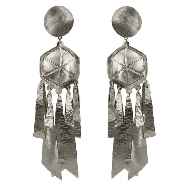 EARRINGS LIGHTNING WHITE BRONZE