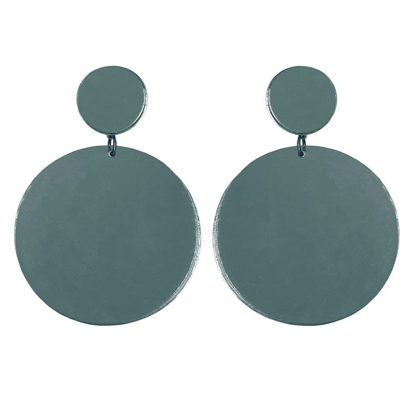 EARRINGS MAXI DOTS MIRROR GREY