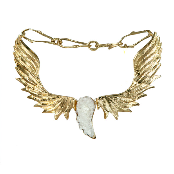 NECKLACE WINGS GOLD BRONZE&  DRUZY AGATA