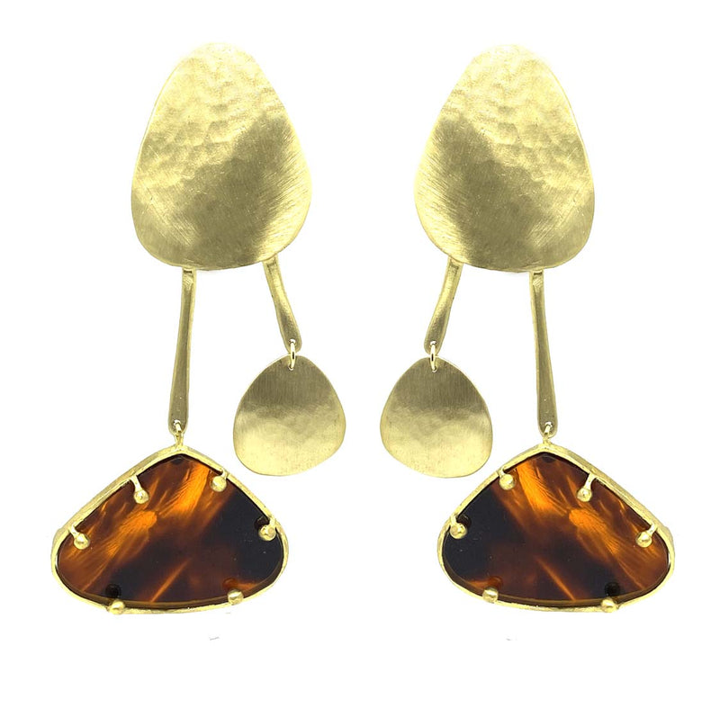 EARRINGS 2LEGS PLEXI  GOLD & PLEXI SPOTTED