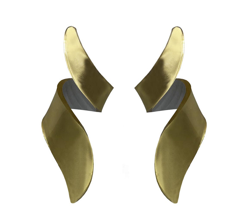 EARRINGS MIRROR GOLD  PLEXI MINI CURLY