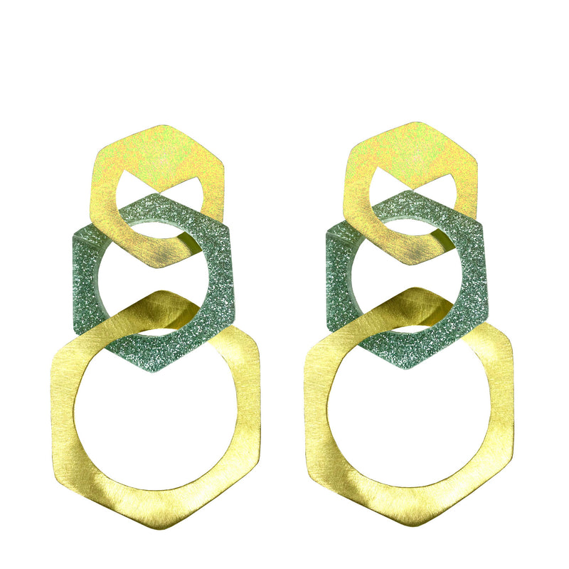 EARRINGS GOLD BRONZE PLEXI GLITTER  TIFFANY HEXAGONS