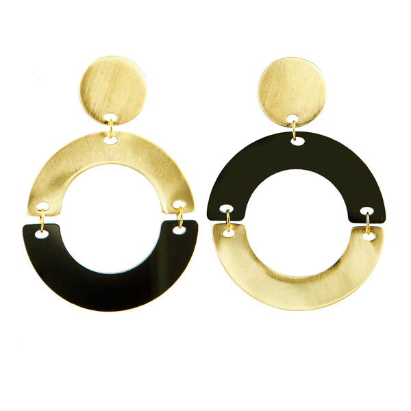 EARRINGS HALF MOONS BLACK PLEXI