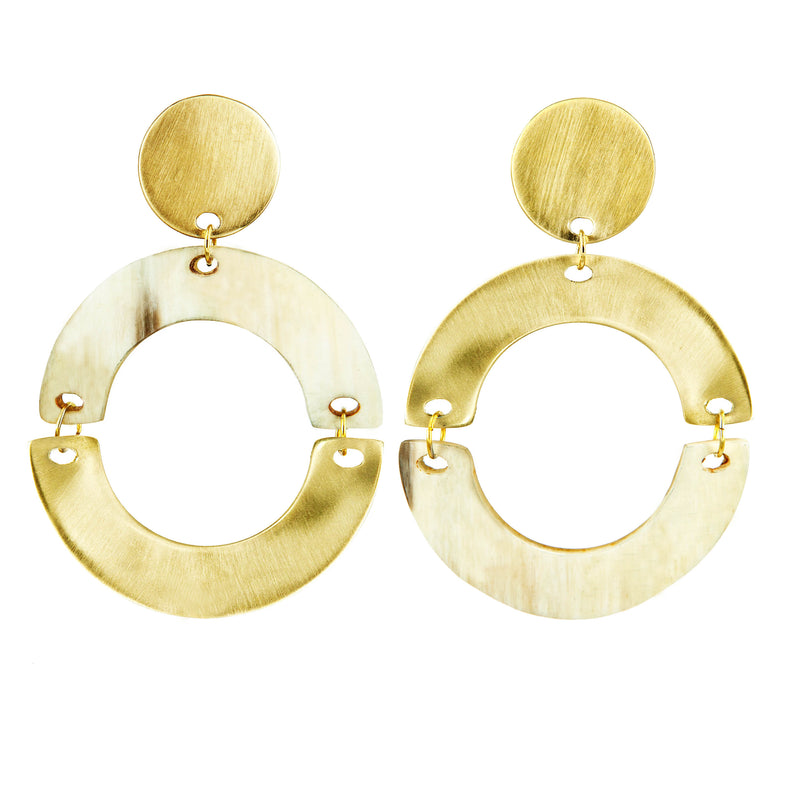 EARRINGS HALF MOONS HORN GOLD BRONZE