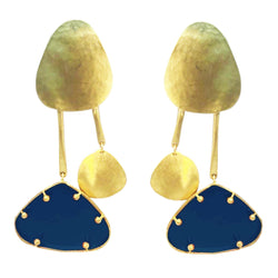EARRINGS 2LEGS PLEXI BLUE  GOLD & PLEXI