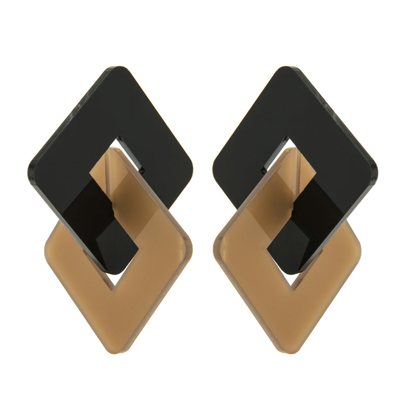 EARRINGS 2 RHOMBUS PLEXI BLACK & CARAMEL