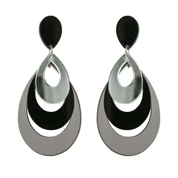 EARRINGS 3 DROPS  PLEXI MIRROR/BLACK/GREY TRASPARENT