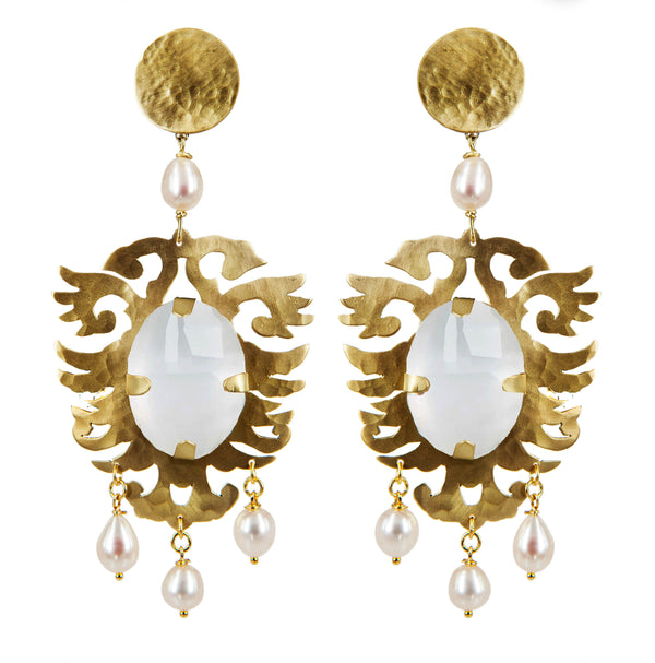 EARRINGS ARALDI GOLD BRONZE - WHITE MOTHER OF PEARL CRYSTAL ROCK