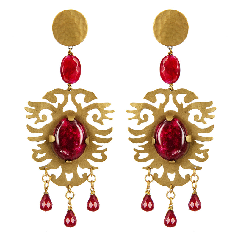 EARRINGS ARALDI GOLD BRONZE - RUBY