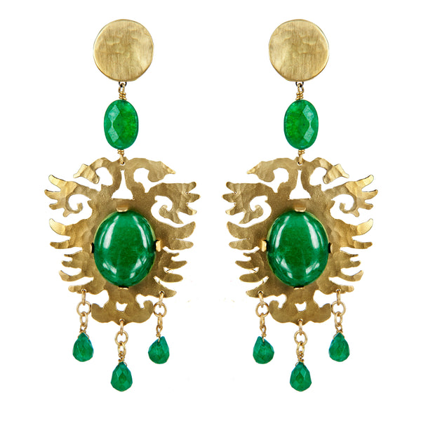 EARRINGS ARALDI GOLD BRONZE - EMERALD