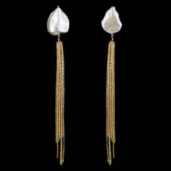 EARRINGS TUFT GOLD WHITE KEISHI PEARLS
