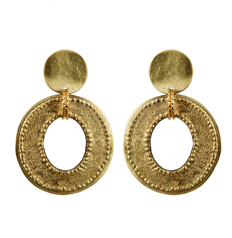 EARRINGS OVALS GOLD BRONZE