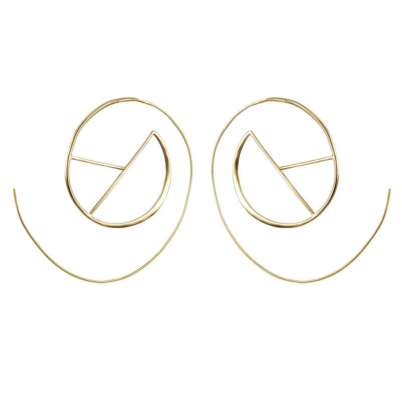 EARRINGS PEACE AND LOVE GOLD BRONZE