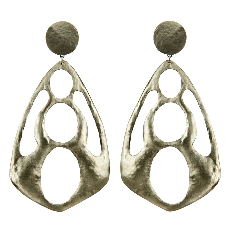 EARRINGS RHOMBOIDS WHITE BRONZE