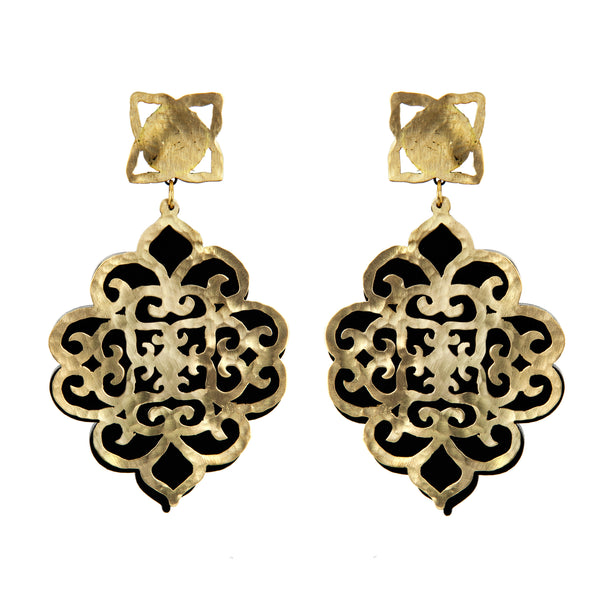 EARRINGS COFFER GOLD & BLACK PLEXI