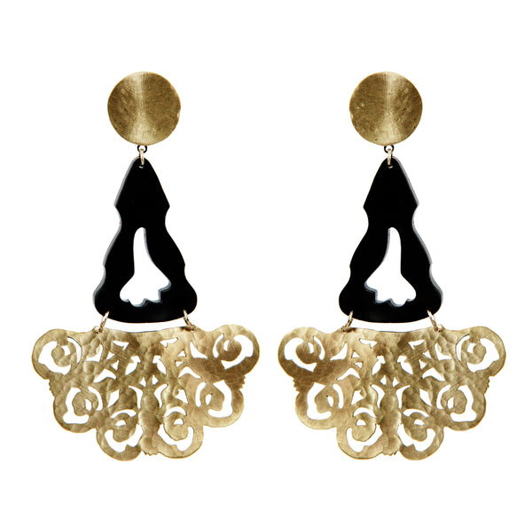 EARRINGS SPANISH GOLD BRONZE & PLEXI