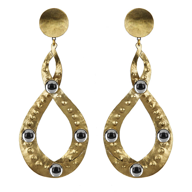 EARRINGS EIGHT GOLD BRONZE MIRROR
