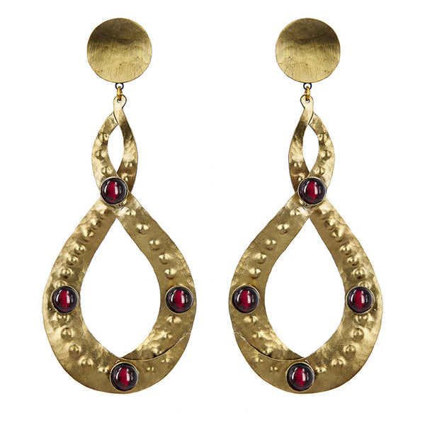 EARRINGS EIGHT GOLD BRONZE AND RUBY