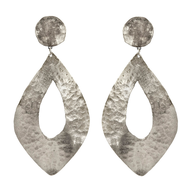 EARRINGS RHOMBUS WHITE BRONZE