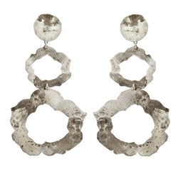 EARRINGS ROSES WHITE BRONZE