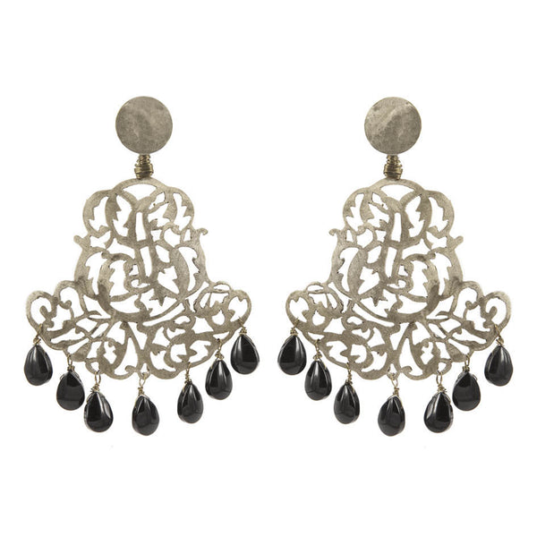 EARRINGS ROYAL ONIX  WHITE BRONZE