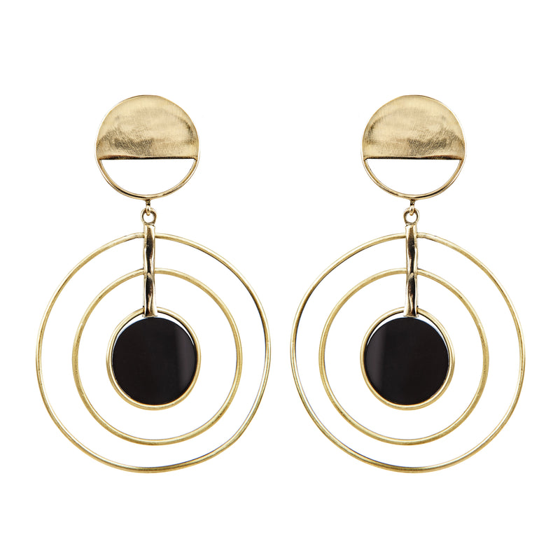 EARRINGS SATELLITES GOLD BRONZE & BLACK