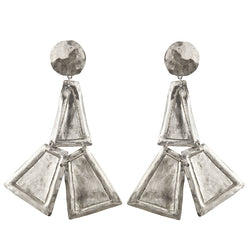 EARRINGS TRAPEZES WHITE BRONZE