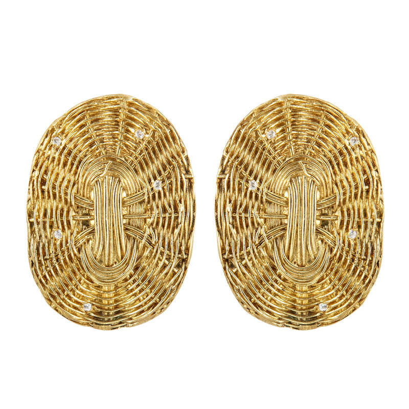 EARRINGS  BASKET GOLD BRONZE & SWAROSKI
