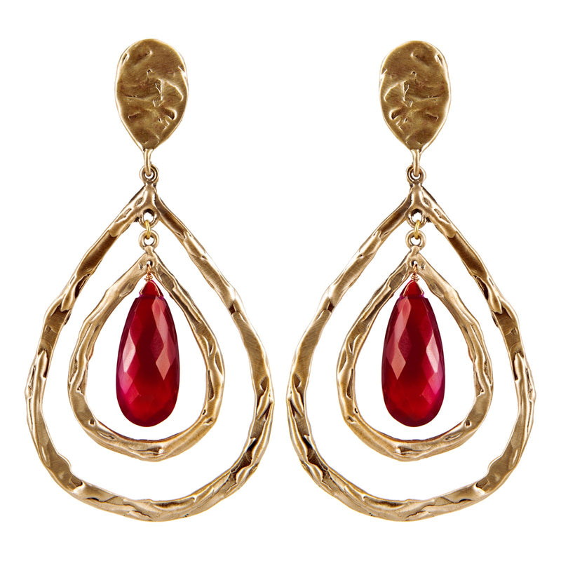 EARRINGS  LAVA DROP RUBY