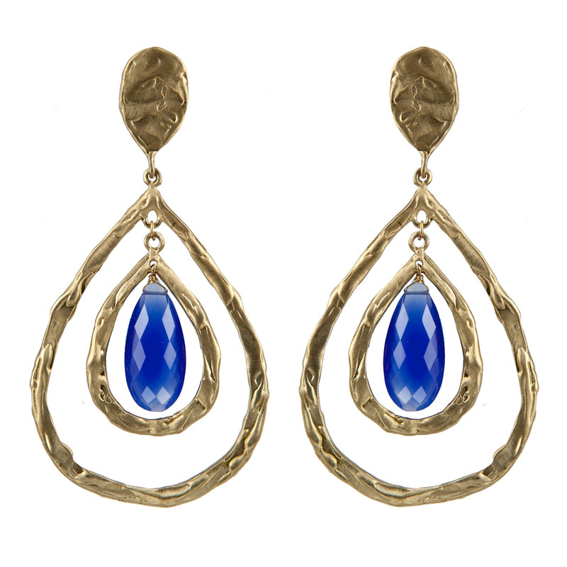 EARRINGS  LAVA DROP BLUE