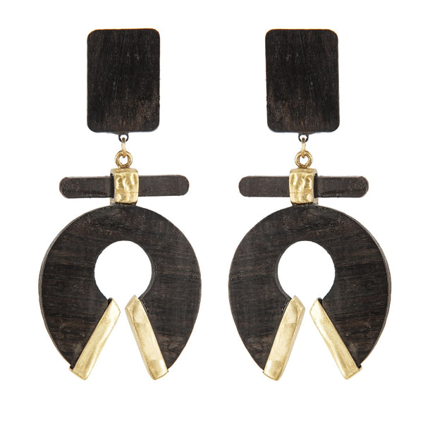 EARRINGS HORSESHOES EBONY