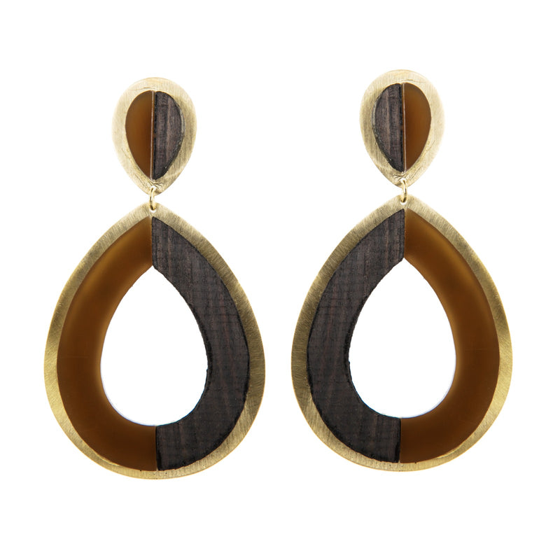EARRINGS BIODROPS CARAMEL & EBONY