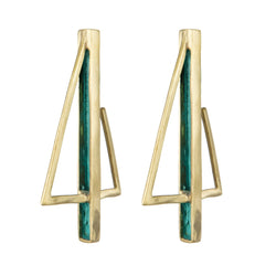 EARRINGS SAILS GREEN PATINA GOLD BRONZE