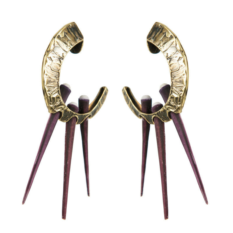 EARRINGS VIOLET POLYNESIAN SEA URCHINS GOLD BRONZE OXIDIZED