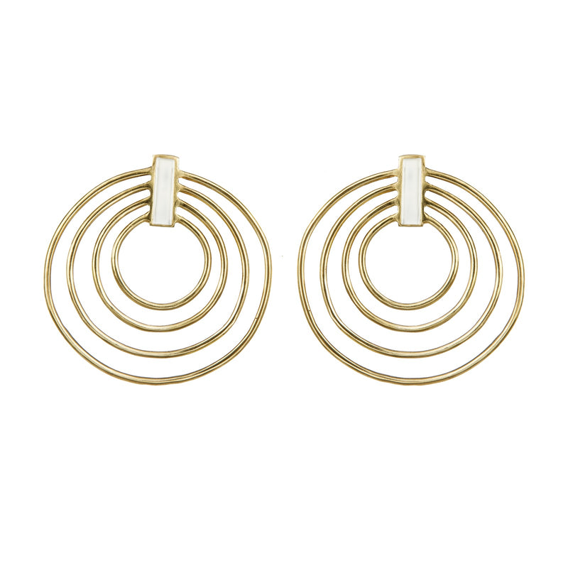 EARRINGS SATELLITE WHITE  GOLD BRONZE