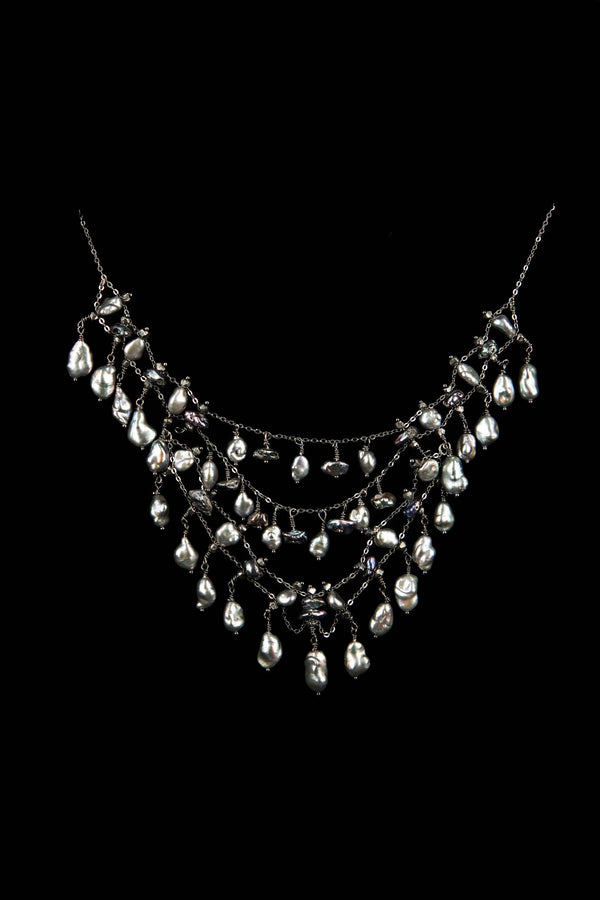 NECKLACE DIADEMA GREY KEISHI PEARLS