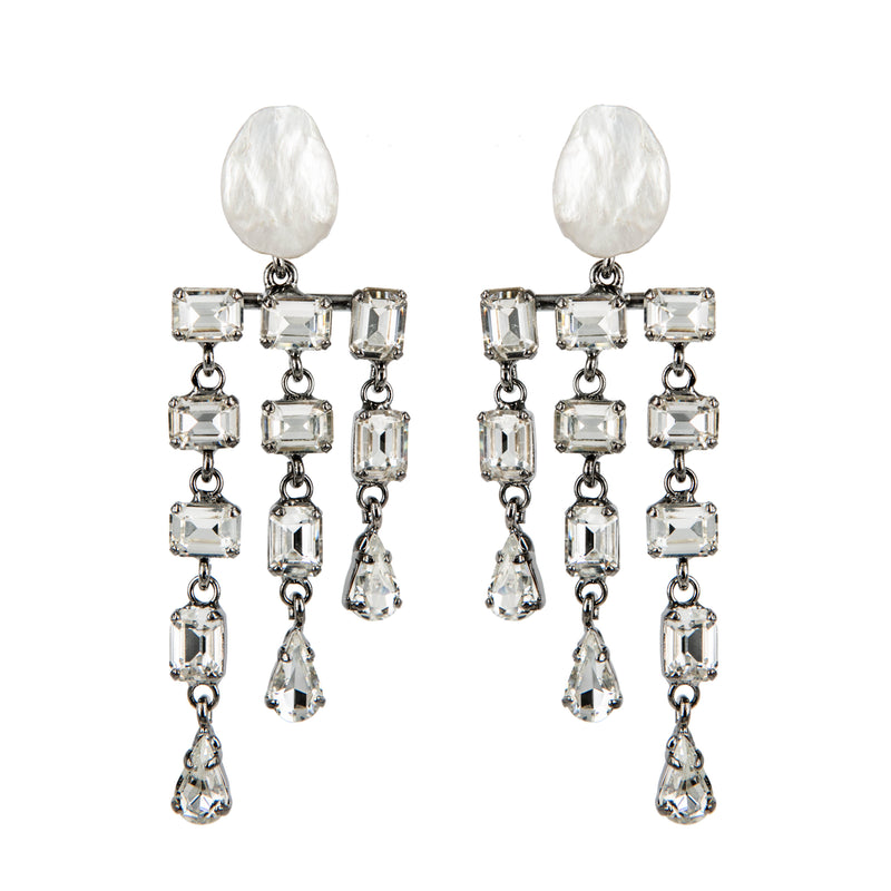 EARRINGS RAIN PEARLS CRYSTAL RUTHENIUM