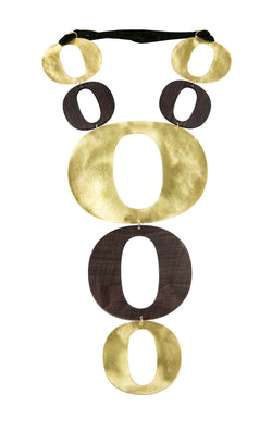 "NECKLACE ""O"" GOLD BRONZE & EBANO"