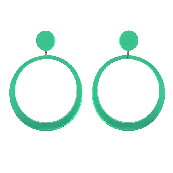 EARRINGS MAXI HOOPS GREEN