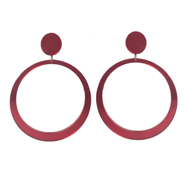 EARRINGS MAXI HOOPS MIRROR RED