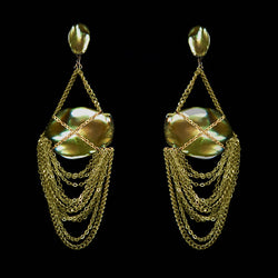 EARRINGS CURTAIN  GOLD BRONZE & KEISHI PEARLS
