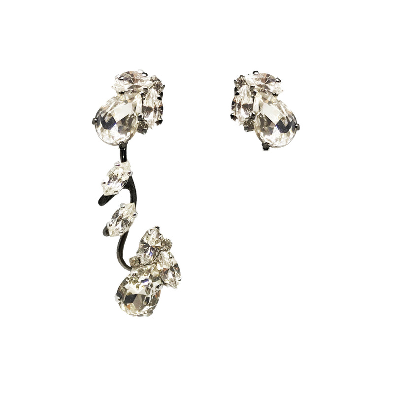 EARRING ROMANTIC RUTHENIUM & CRYSTAL